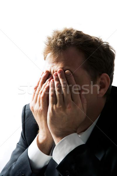 Człowiek Fotografia biznesmen ukrywanie twarz Zdjęcia stock © pressmaster
