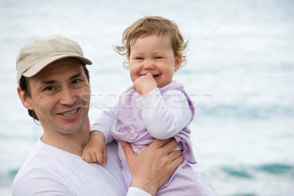 óvatos apa portré boldog férfi lánygyermek Stock fotó © pressmaster