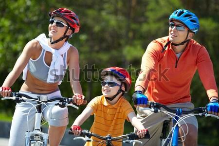 Foto d'archivio: Ragazzo · equitazione · bicicletta · ritratto · parco