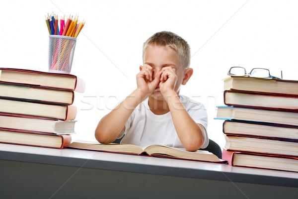 устал чтение портрет сонный парень глазах Сток-фото © pressmaster