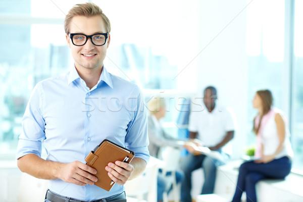 Lelkes üzletember portré csapat férfi boldog Stock fotó © pressmaster