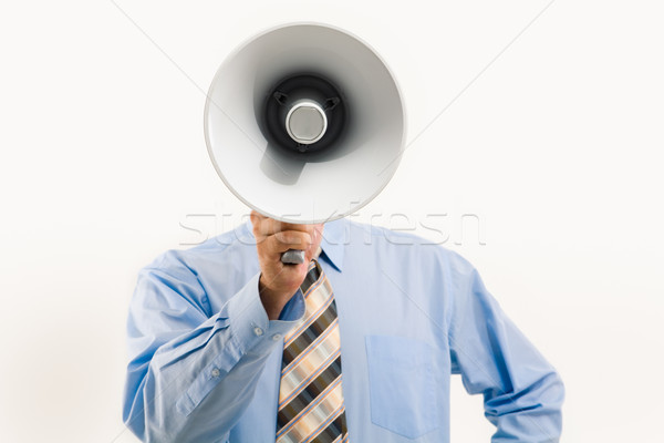 Speaking through megaphone Stock photo © pressmaster