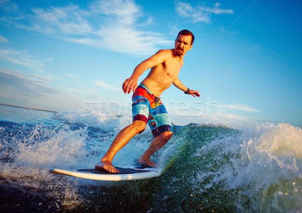 Eau sport jeune homme mer vague blanche Photo stock © pressmaster