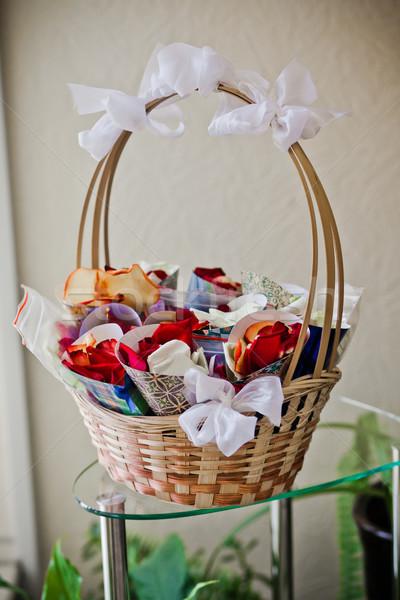 Gül yaprakları kâğıt düğün güzellik zemin beyaz Stok fotoğraf © prg0383