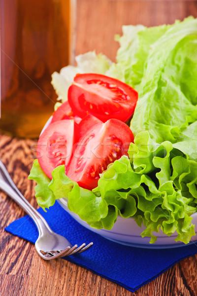 Zöld saláta saláta friss paradicsom étel Stock fotó © prg0383