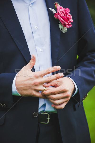 элегантность человека рук кольца цветок Сток-фото © prg0383