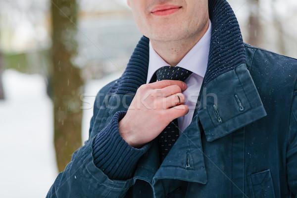 Damat ayarlamak kravat düz adam beyaz Stok fotoğraf © prg0383