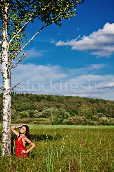 портрет молодые красивой брюнетка женщину красный Сток-фото © prg0383