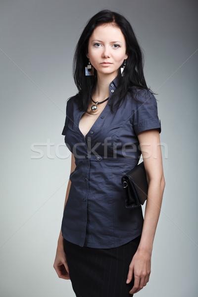 Gyönyörű nő divat modell portré szürke nő Stock fotó © prg0383