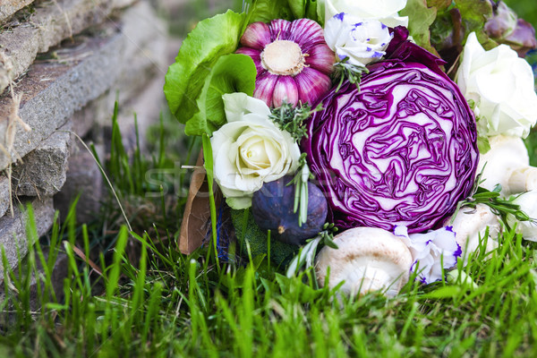 Eredeti szokatlan ehető virágcsokor zöldségek fű Stock fotó © prg0383