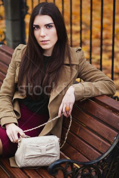 красивой элегантный женщину осень сидят парка Сток-фото © prg0383