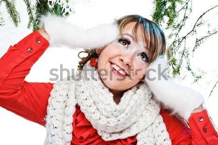 Sexy Frau vorliegenden weiß Papier isoliert Frau Stock foto © prg0383