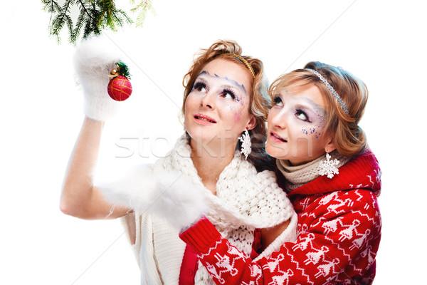 женщину мяча сексуальная женщина Рождества изолированный белый Сток-фото © prg0383