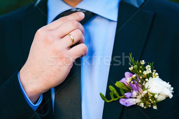 Vőlegény szett nyakkendő egyenes férfi fehér Stock fotó © prg0383