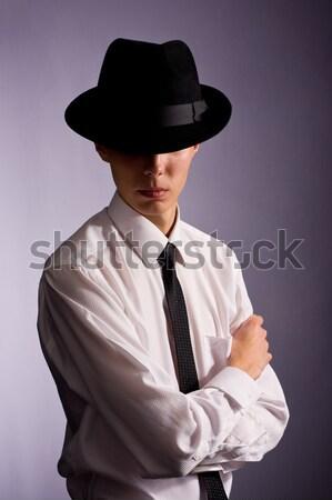 Jonge knappe man man hoed business Stockfoto © prg0383