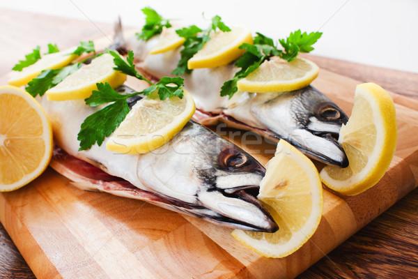 Pár friss makréla fa étel szem Stock fotó © prg0383