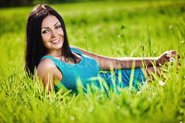 портрет молодые красивой брюнетка женщину синий Сток-фото © prg0383