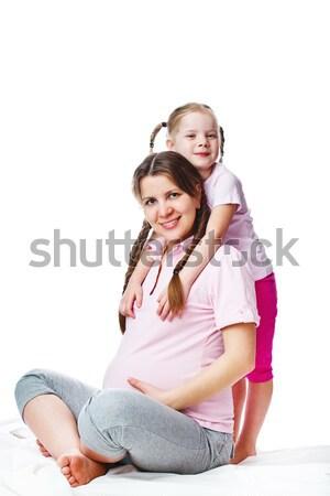красивой беременная женщина дочь изолированный белый женщину Сток-фото © prg0383
