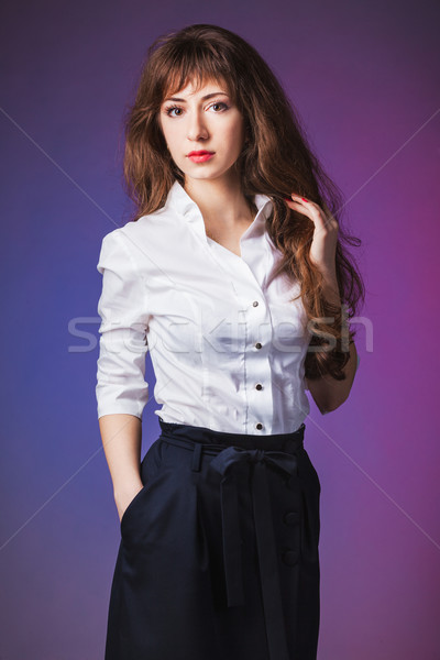 Mooie vrouw gekleurd business haren schoonheid portret Stockfoto © prg0383