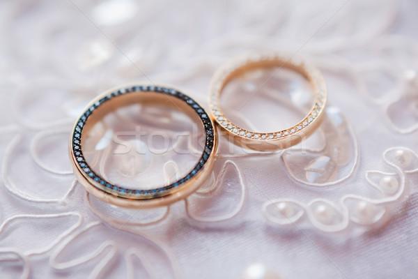 золото обручальными кольцами белый рук невеста брак Сток-фото © prg0383