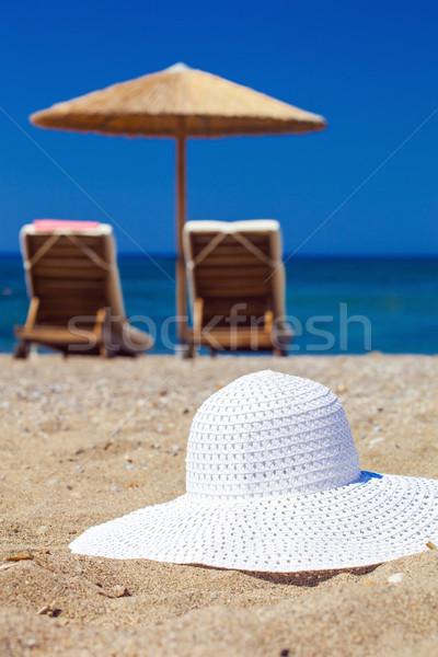 Blauw kleur zee hoed zand focus Stockfoto © prg0383