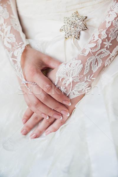 Güzel gelinler eller manikür beyaz eldiven Stok fotoğraf © prg0383