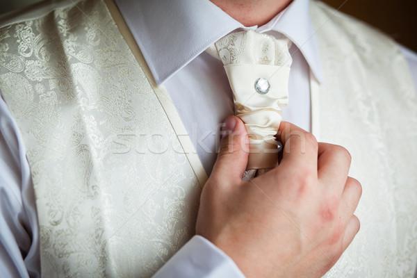 Bruidegom ingesteld stropdas rechtdoor man witte Stockfoto © prg0383