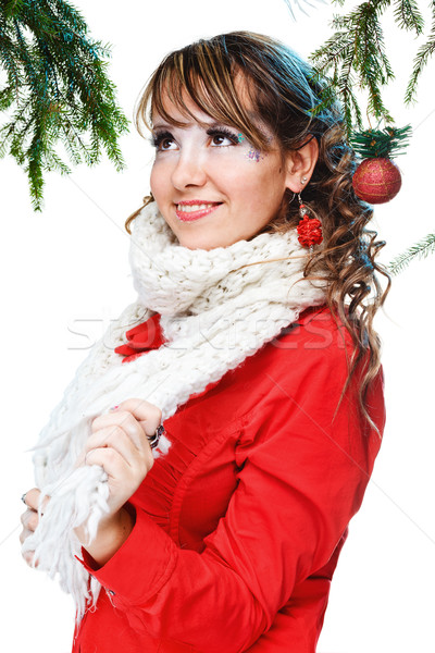 Güzel bir kadın sıcak tutacak giysiler beyaz kız model kış Stok fotoğraf © prg0383