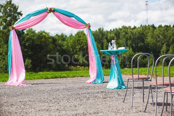 Düğün töreni güzel bahçe çiçekler parti sandalye Stok fotoğraf © prg0383
