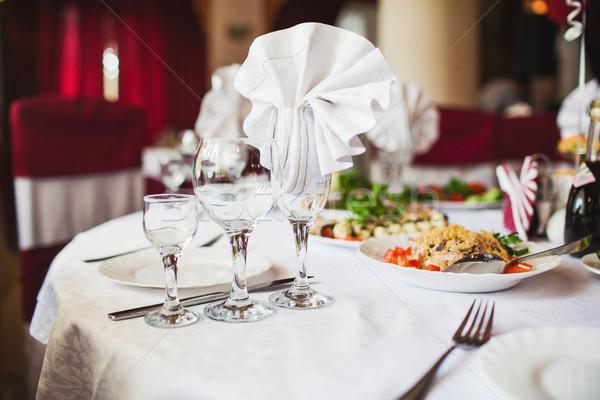 Asztal szett esemény buli esküvői fogadás virág Stock fotó © prg0383