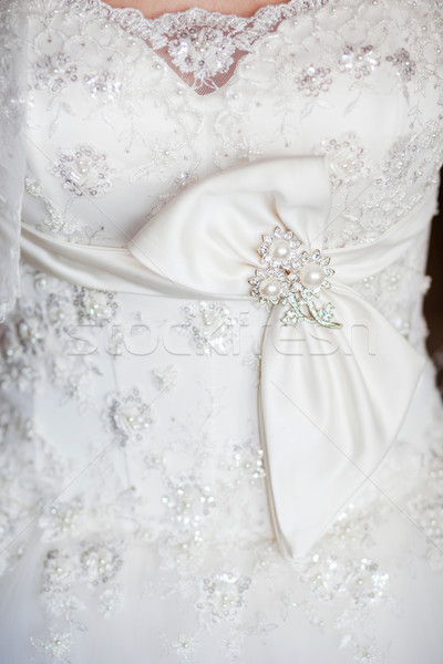 Gyönyörű esküvői ruha közelkép esküvő divat menyasszony Stock fotó © prg0383