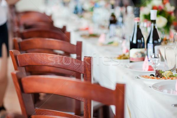 Tabelle Set Veranstaltung Party Hochzeitsfeier Blume Stock foto © prg0383