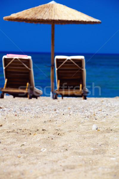 Ansicht Regenschirme Griechenland Strand Himmel Stock foto © prg0383