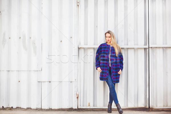 Nő kék kabát öreg fal arc Stock fotó © prg0383