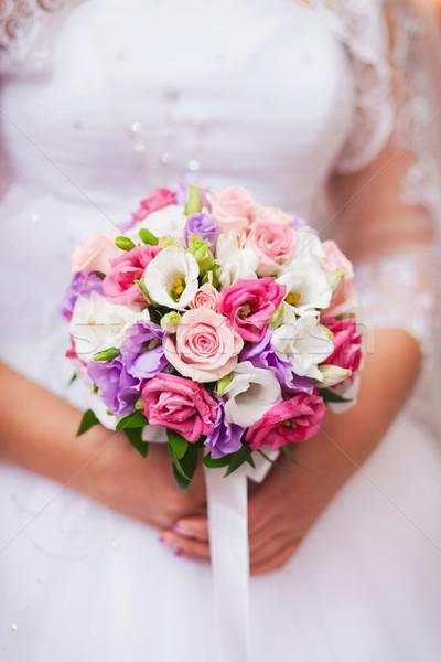 Esküvői csokor közelkép esküvő szeretet terv levél Stock fotó © prg0383