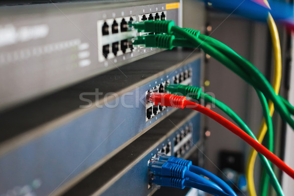 blue, red and green network cables connected to switch Stock photo © prg0383