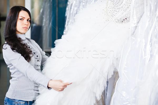 Gyönyörű lány esküvői ruha portré menyasszonyi fiatal nő vállalkozó Stock fotó © prg0383