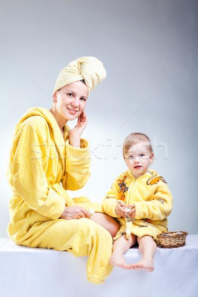 Kız anne makyaj banyo kadın aile Stok fotoğraf © prg0383