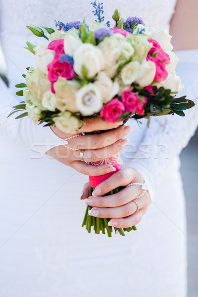 Or alliances blanche mains mariée mariage Photo stock © prg0383