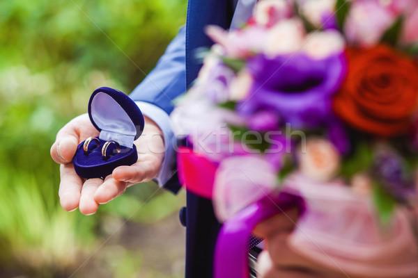 Or alliances mains mariée rouge mariage Photo stock © prg0383