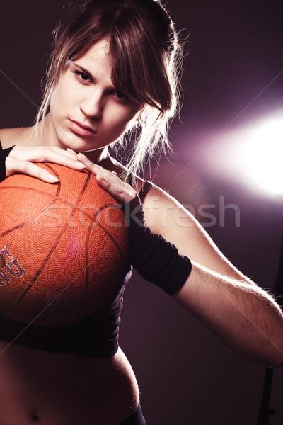 Jonge vrouw vrouwelijke bal zwarte Stockfoto © prg0383