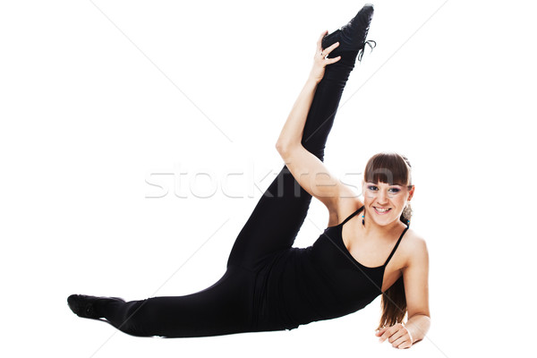Stock fotó: Szexi · nő · fitnessz · nő · nyújtás · egészalakos · izolált · fehér