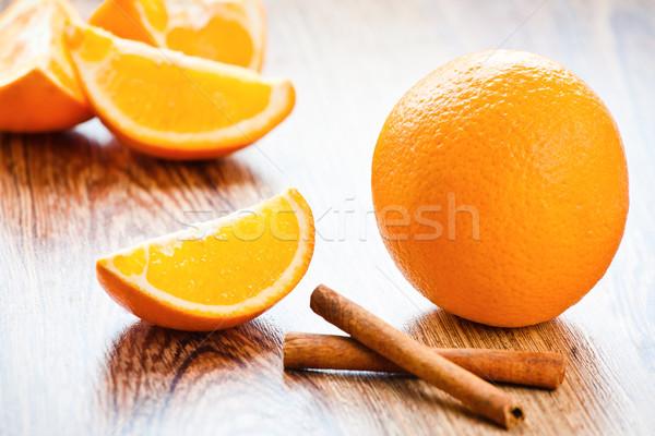 Narancs rész fahéj étel háttér ital Stock fotó © prg0383