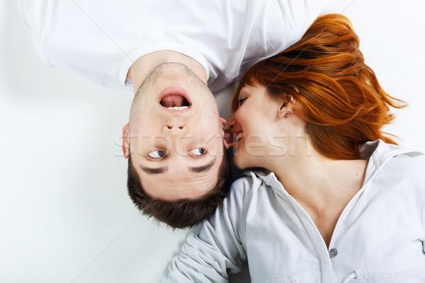 молодые счастливым пару портрет красивой женщину Сток-фото © prg0383