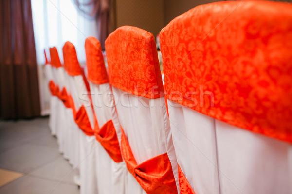 Сток-фото: пусто · свадьба · стульев · цветы · ресторан · таблице