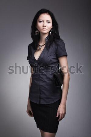 красивая женщина моде модель портрет серый синий Сток-фото © prg0383
