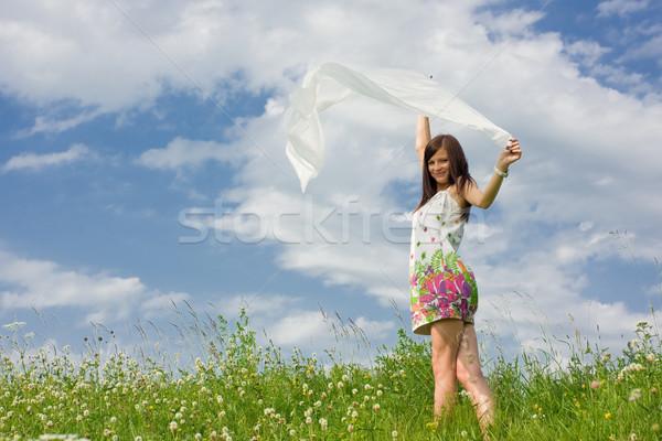 красивая женщина красивой небе девушки улыбка Сток-фото © prg0383