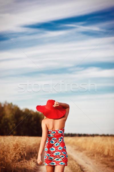 девушки красное платье красный Hat области вид сзади Сток-фото © prg0383