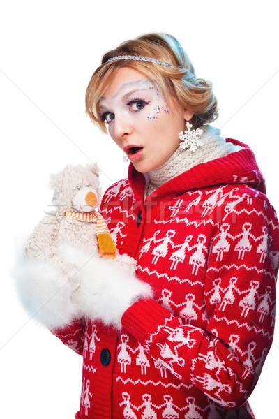 красивая женщина теплая одежда белый женщину рук зима Сток-фото © prg0383