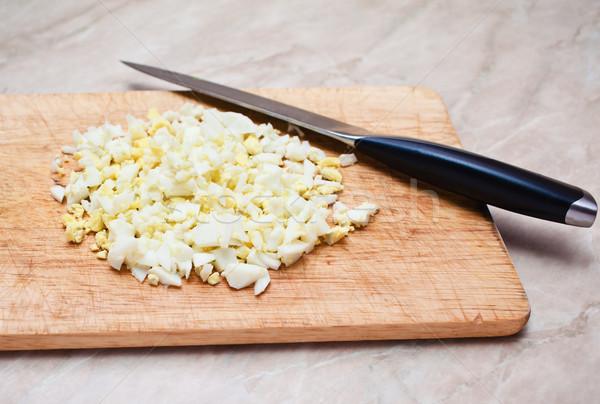 érett tojás vág rész tábla kés Stock fotó © prg0383